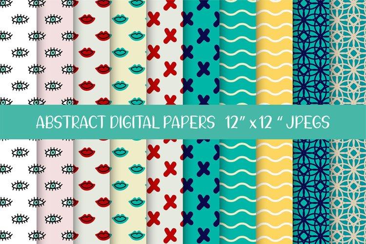 Evil Eyes, Lips, Waves, Cross Digital Papers