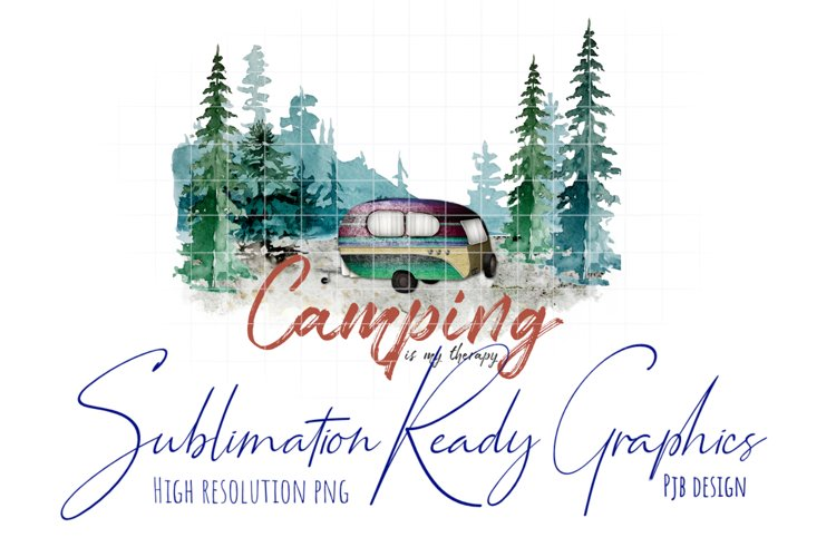 Camping Therapy Watercolour Illustration Sublimation example image 1