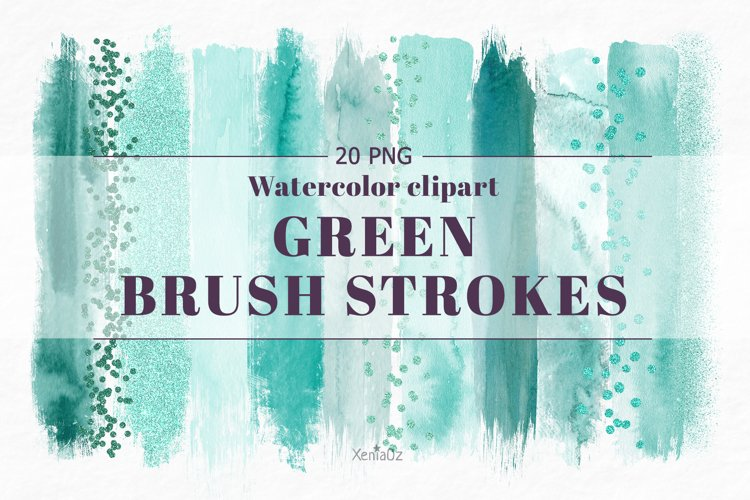 Emerald brush strokes clipart, green watercolor PNG elements example image 1