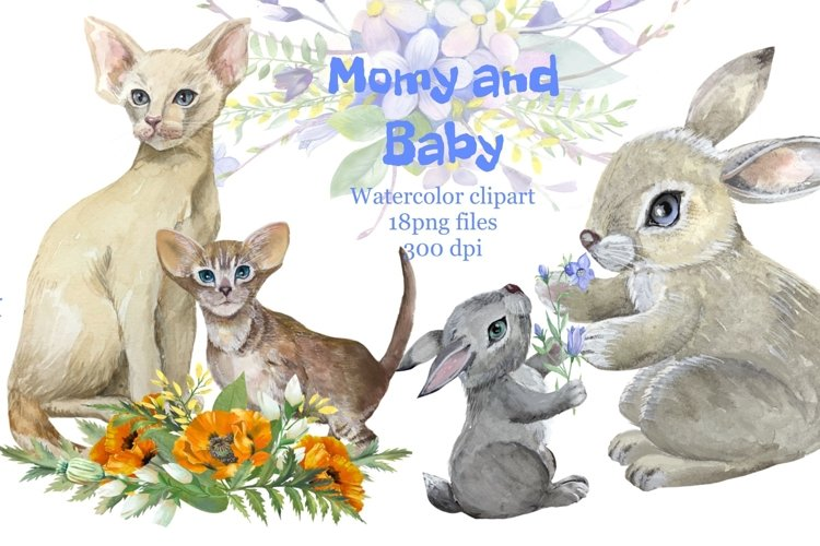Mother and baby animals, watercolor clipart,Mothers day