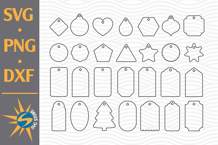 Gift Tag Outline SVG, PNG, DXF Digital Files Include example image 1