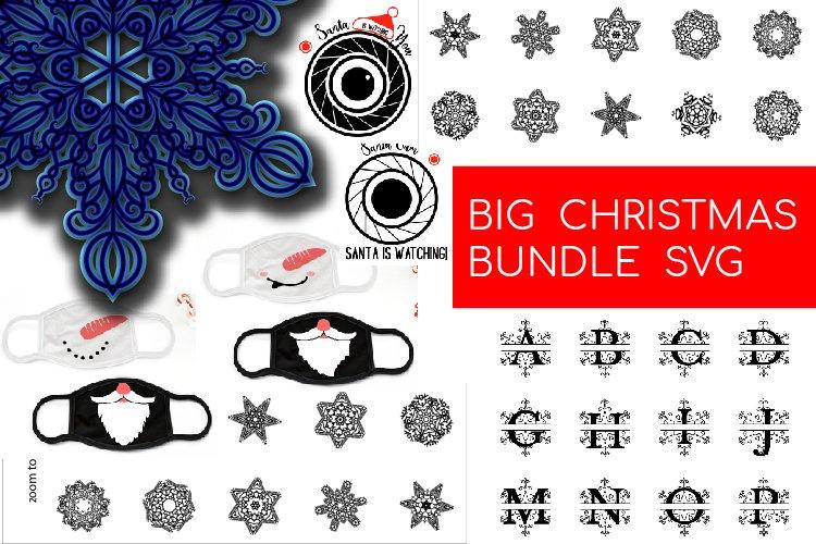 Big Christmas Bundle SVG. Snowflake, Santa, Christmas mask example image 1