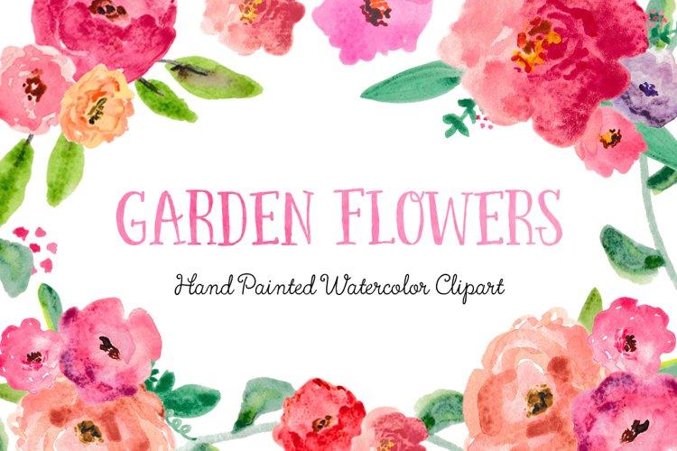 Garden Flowers Watercolor Clipart