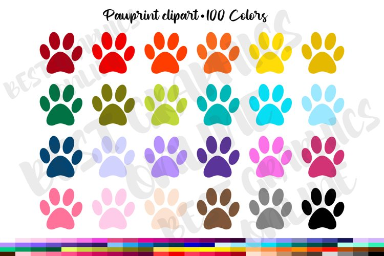 100 Pawprint clipart, Printable planner stickers clipart set example image 1