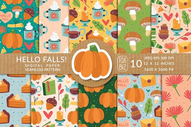 Hello falls. Digital paper prints, seamless pattern. example image 1