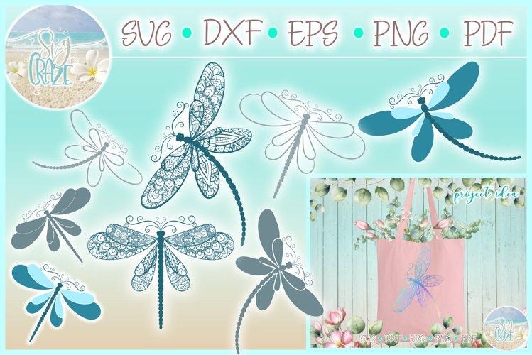 Dragonfly Mandala Zentangle Bundle Svg Dxf Eps Png Pdf Files - Free Design of The Week Font