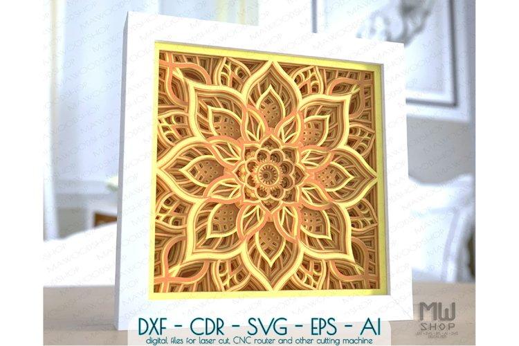 M156 - 3D Mandala Pattern Shadow Box Mandala SVG DXF example image 1
