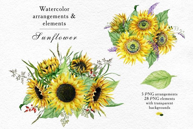 Watercolor Sunflower arrangements, Floral eleme example image 1
