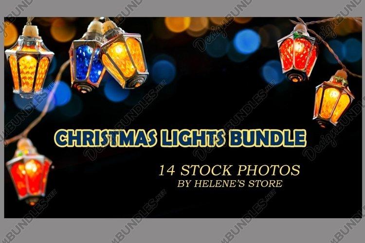 Fairy christmas lights garland on black background. Bundle example image 1