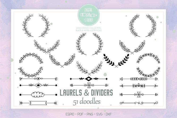 Laurels   Divider | Hand Drawn Floral Border, Leafy Wreath