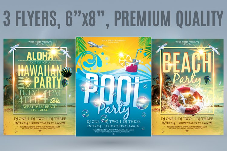 Beach Party Flyer Bundle example image 1