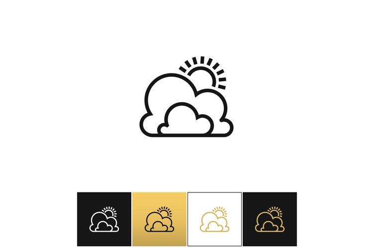 Weather symbol or sun and clouds outline vector icon example image 1