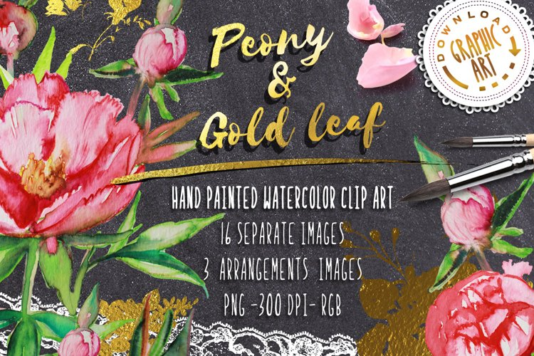 Peony and Gold leaf example image 1