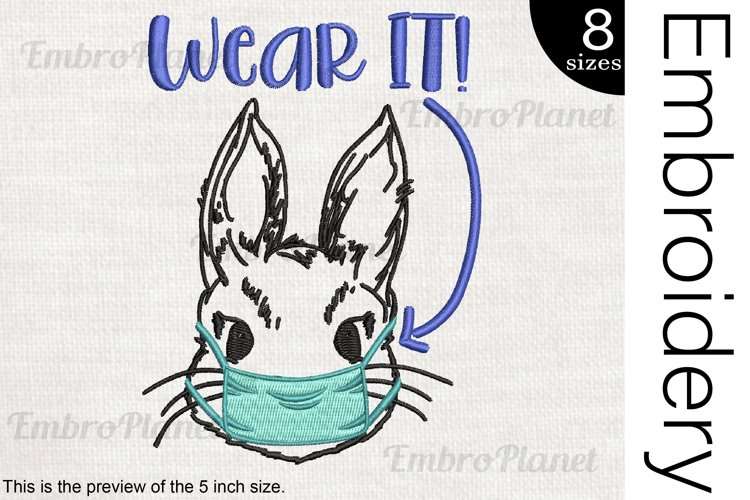Wear It Bunny Mask - Embroidery Files - 1477e example image 1