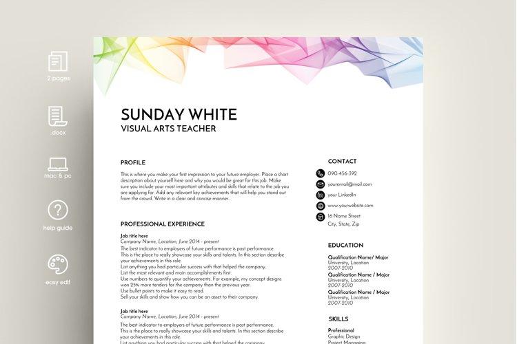 resume template, CV template, CV design, rainbow example image 1