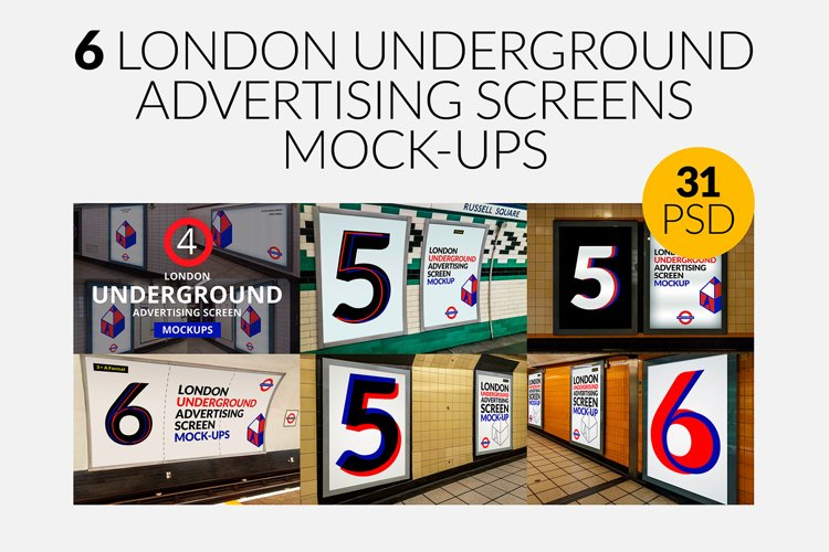 6 London Underground Ad Screen Mock-Ups Bundle / 31 PSD