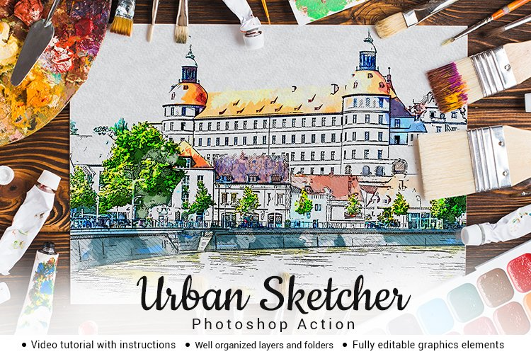 Urban Sketcher Photoshop Action example image 1