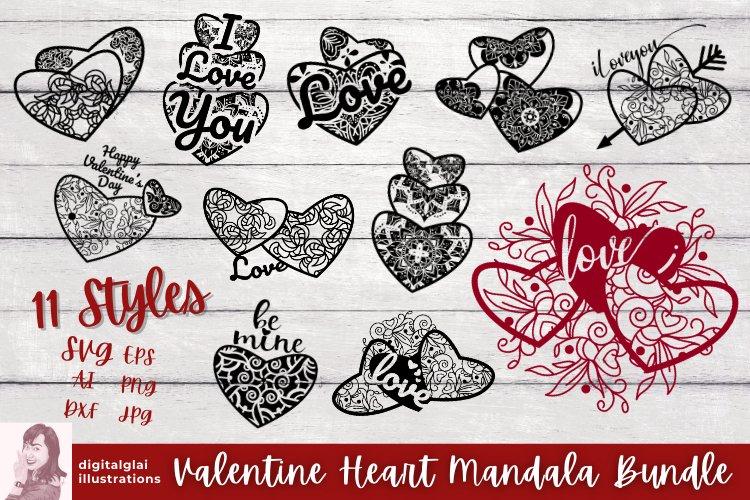 Valentine Heart Mandala SVG Bundle, Cut Files