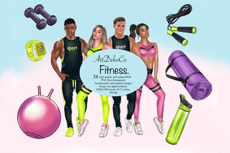 Sports clipart, Fitness clipart for girls and men, Trainers