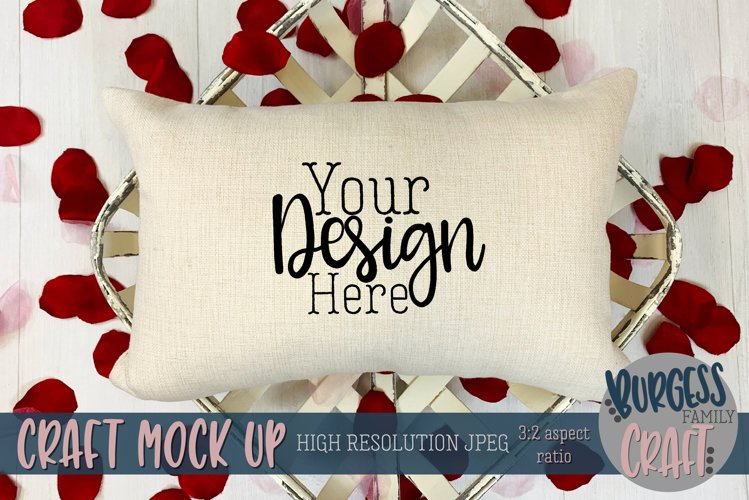 Valentine 12x18 pillow with rose petals Craft mock up