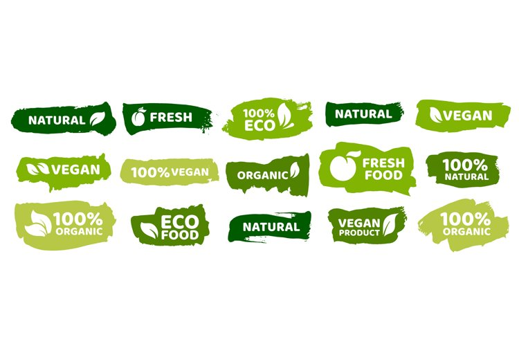 Organic food labels. Fresh eco vegetarian products, vegan la example image 1