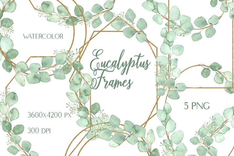 Watercolor Eucalyptus Golden Frames