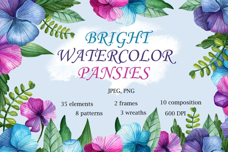 Bright Watercolor Pansies example image 1