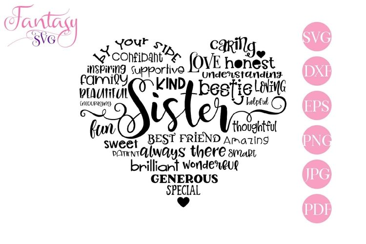 Sister Word Art - Svg Cut Files example image 1