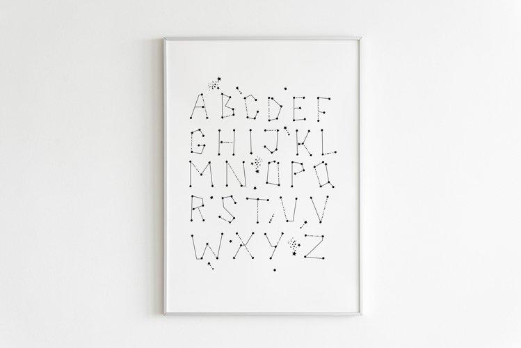 Celestial Alphabet Printable, Space Themed Nursery Decor example image 1