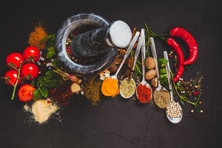 Food background with fresh herbs example image 1
