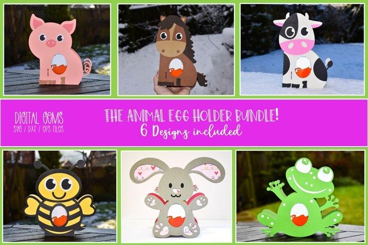 Animal Easter egg holder bundle SVG / DXF / EPS files. example image 1