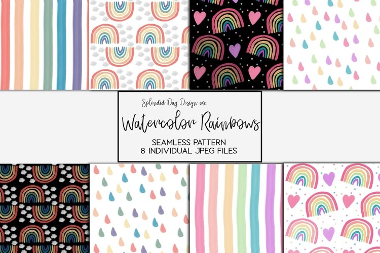 Watercolor rainbow seamless patterns example image 1