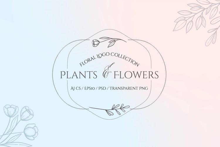 Plants and Flowers Hand Drawn Logo Set