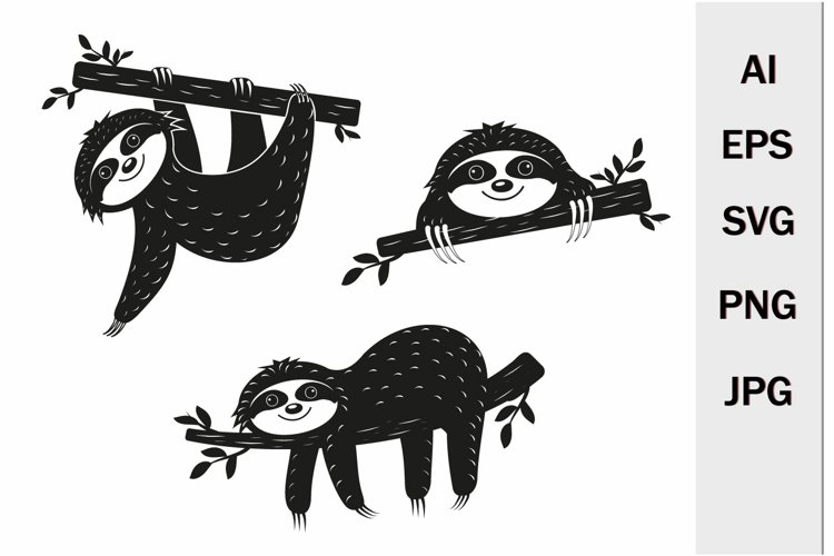 Cute Characters Sloths on a Tree set, Black Stencil, SVG