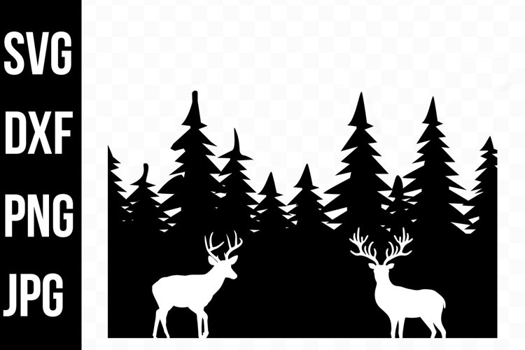Evergreen Forest Silhouette Deer - svg, png, dxf, jpg example image 1