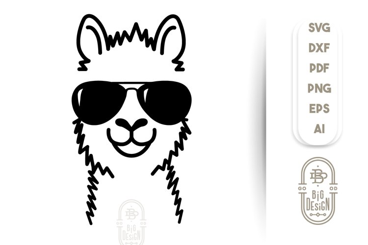 Llama SVG File - Lama Svg Illustration   sunglasses