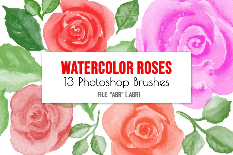 Watercolor roses flowers and leaves Photoshop Brushes example image 1