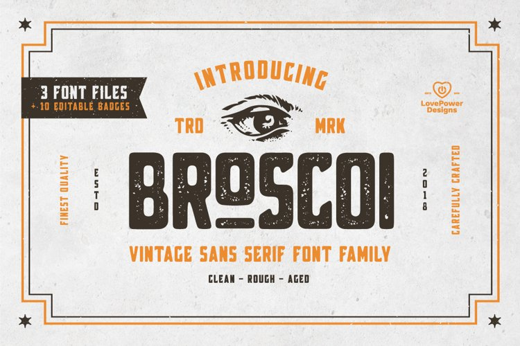 Broscoi - Vintage Font Family - Free font demo link included