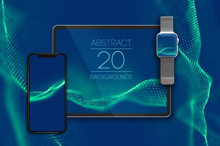 20 Abstract Blue Waves. Technology Backgrounds Set. example image 1