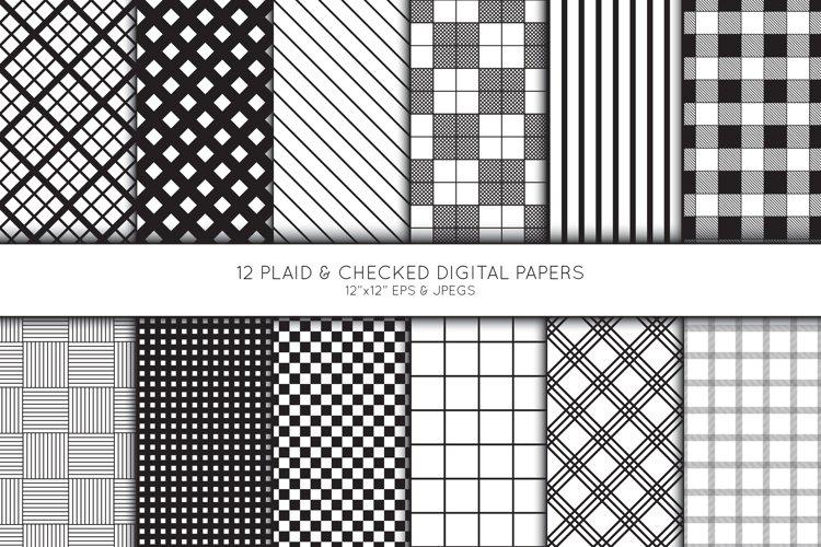 Plaid Digital Paper, Buffalo Plaid Scrapbook paper, check example image 1