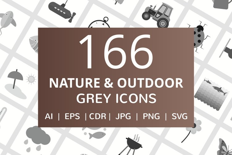 166 Nature & Outdoor Flat Greyscale Icons example image 1