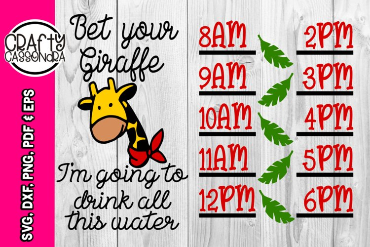 water bottle tracker - giraffe svg - chart time line - drink