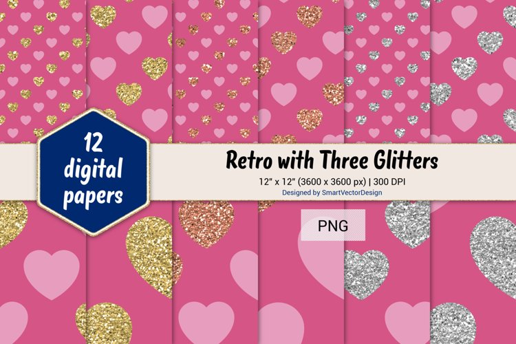 Hearts Retro with Three Glitters Color Combo #14 example image 1