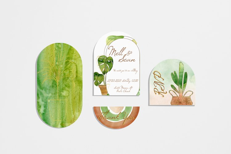 Watercolor Home Plant Clipart Set example 4