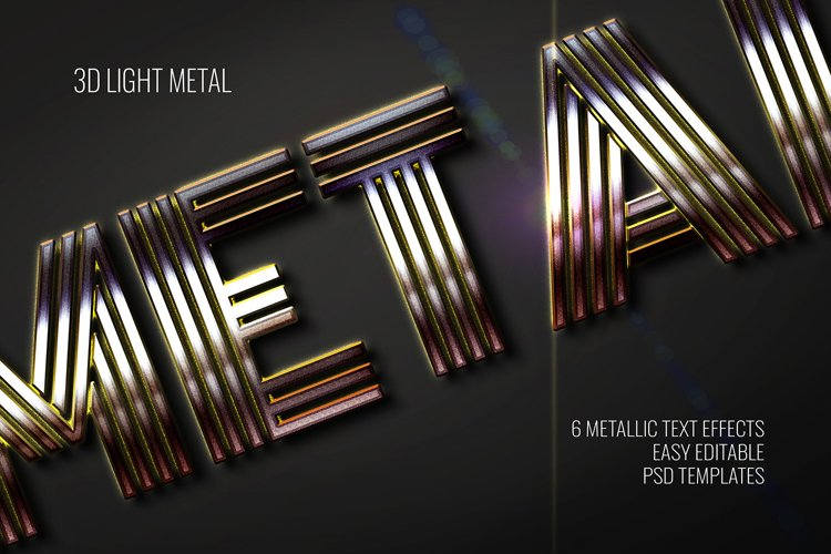 3D Light Metal Text Effect - 6 Editable PSD Templates Vol.1