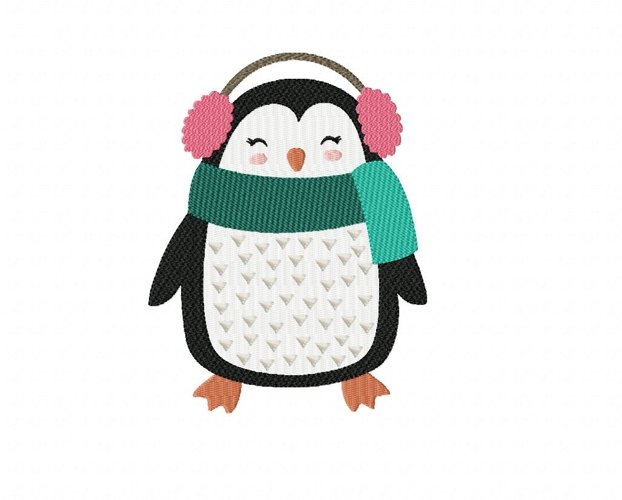 Christmas Fun Penguin Machine Embroidery Design in 2 sizes example image 1