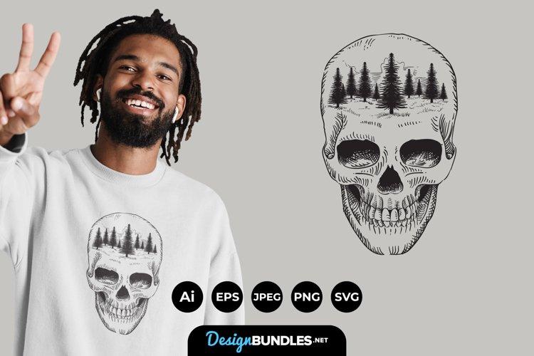 Skull Forest Illustrations for T-Shirt Design
