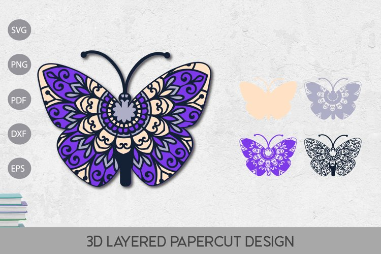 Butterfly 3D Layered Paper Cut Template SVG Design example image 1