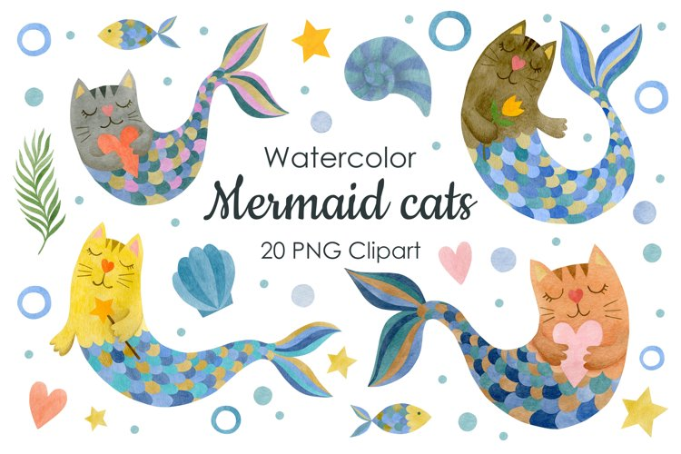 Watercolor mermaid cats clipart example image 1