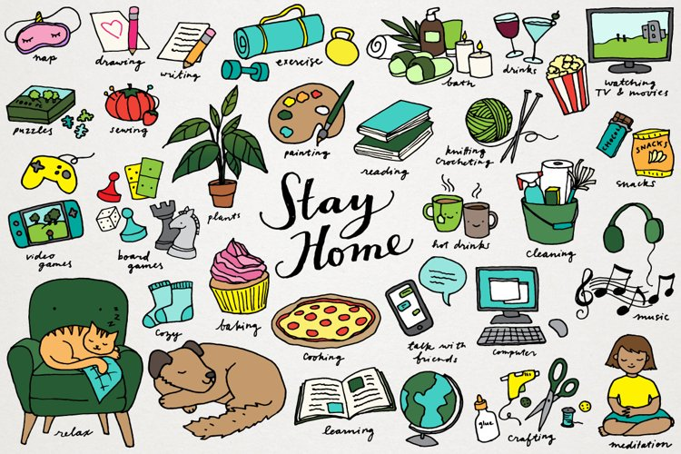 Stay Home Quarantine Social Distancing Clipart Set